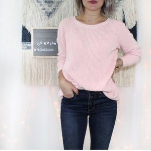 LOFT Pink Floral Cotton Knit Sweater Slit Back